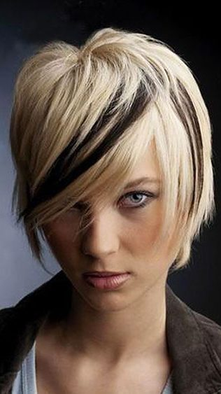 Razored Cut Black and Blonde Hair, Blonde Short Highlights Razored